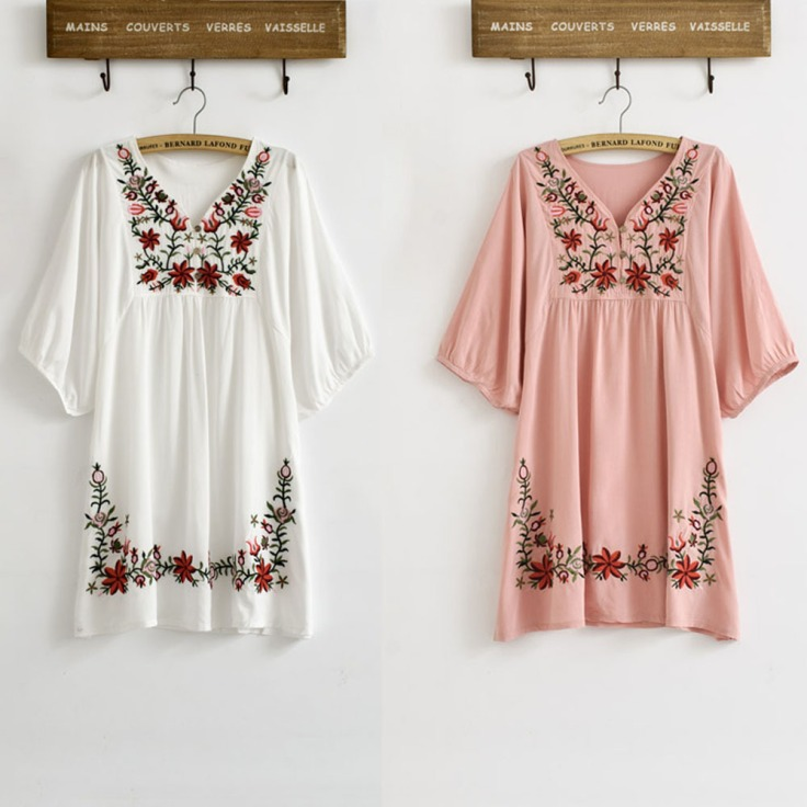 New-2014-Spring-Summer-Vintage-70s-Mexican-Ethnic-Floral-Embroidered-font-b-Blouse-b-font-font